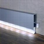 Плинтус BLL 80 AS из алюминия со светодиодной подсветкой