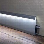 Плинтус BZL 80 AS под светодиодную ленту без фурнитуры из алюминия